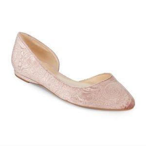 Nine West Blush Pink Velvet Brocade D'Orsay Flats